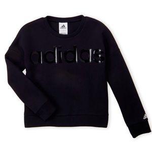Adidas Girls Logo Graphic Cropped Sweater